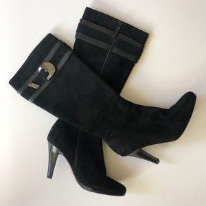 Cole Haan Nicole Black Suede Buckle Boots